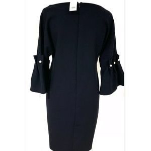 Banana Republic Dress Navy Fluted Sleeves  4 NWT